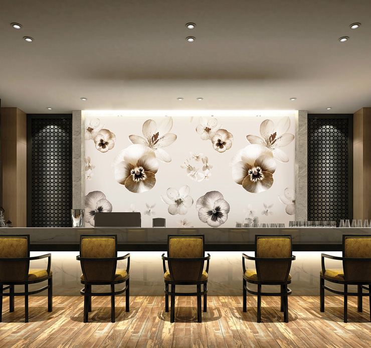 PrintsbyNature-Hotel-Bar-Stylish-Gold-Warm-Lobby-Flowers-Wallpaper