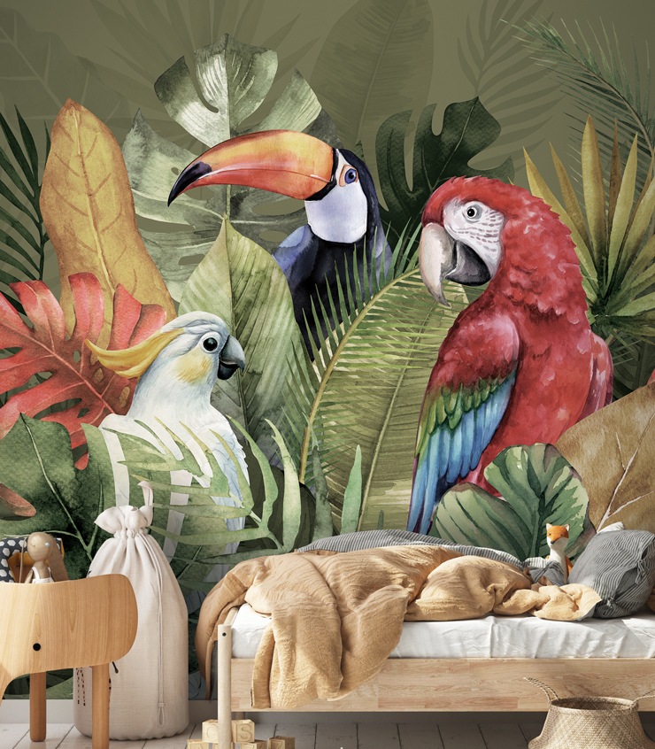 PrintsbyNature-Jungle-Animals-Green-Tropical-Birds-Leaves-Kidsroom